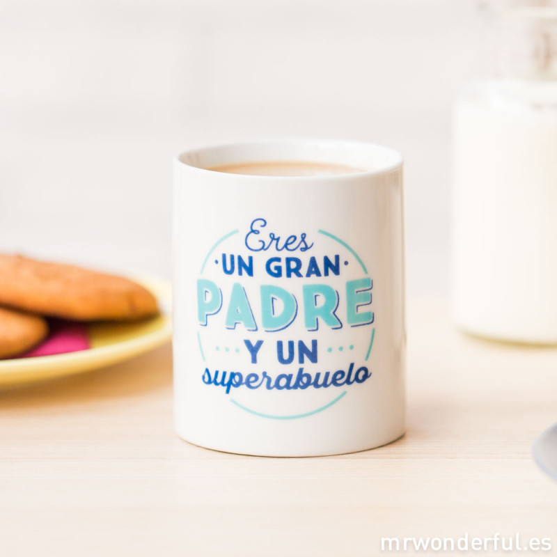 Taza eres un gran padre y un superabuelo for Decoracion tazas mr wonderful