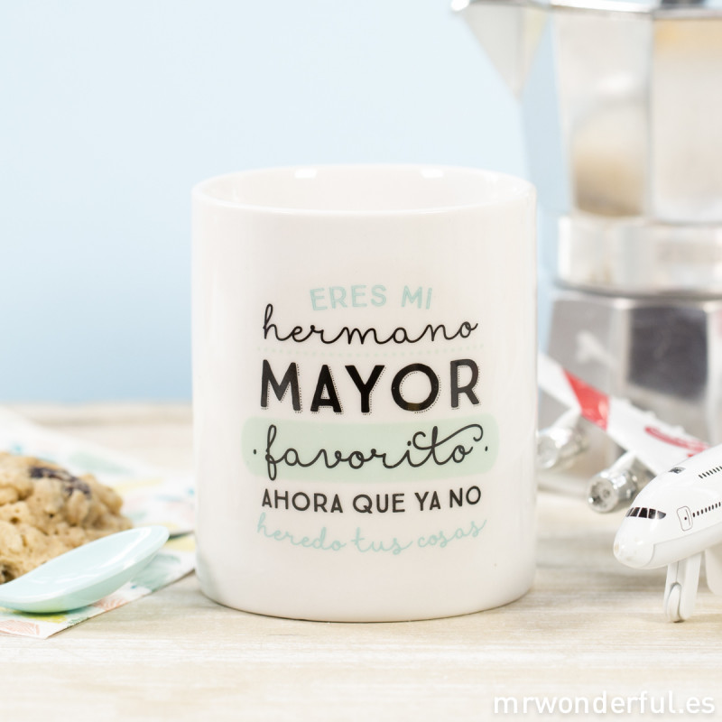 Taza eres mi hermano mayor favorito mr wonderful for Decoracion tazas mr wonderful
