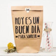 "Pack de 5 bolsas kraft ""Hoy es un buen día para sonreír"""