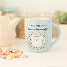 """Tazza """"La vita migliora dopo un buon caffè"""" (IT)"""