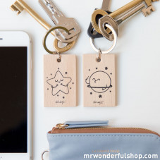 """Set of 2 key-rings """"Star and planet"""""""