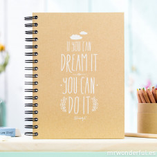 "Kraft notebook ""If you can dream it, you can do it"""