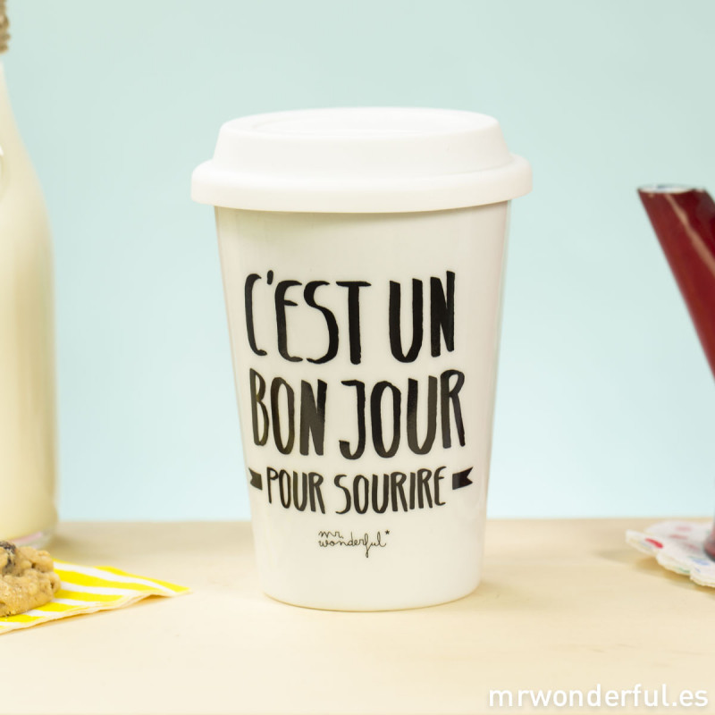 mug take away c 39 est un bon jour pour sourire fr mr wonderful. Black Bedroom Furniture Sets. Home Design Ideas