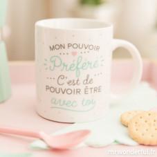"""Mug """"Mon pouvoir préféré, c'est de pouvoir être avec toi"""" (FR)"""