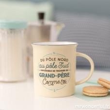 """Mug """"Du pôle nord au pôle sud, impossible de trouver un grand-père comme toi"""" (FR)"""