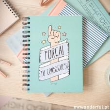 "Caderno colorido ""Força! Tu consegues!"""
