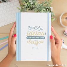 """Caderno cartoné """"Grandes ideias para chegares onde desejas"""" (PT)"""
