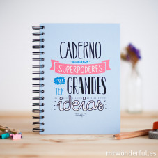 "Caderno colorido  ""Caderno com superpoderes para ter grandes ideias"" (PT)"