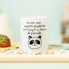 """Caneca com """"Superpoderes para apagar as olheiras de panda"""" (PT)"""