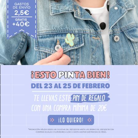 Regalo de un pin en compras mínimas a 20€