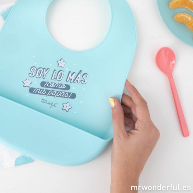 Babero de silicona para comer, crecer y disfrutar a tope