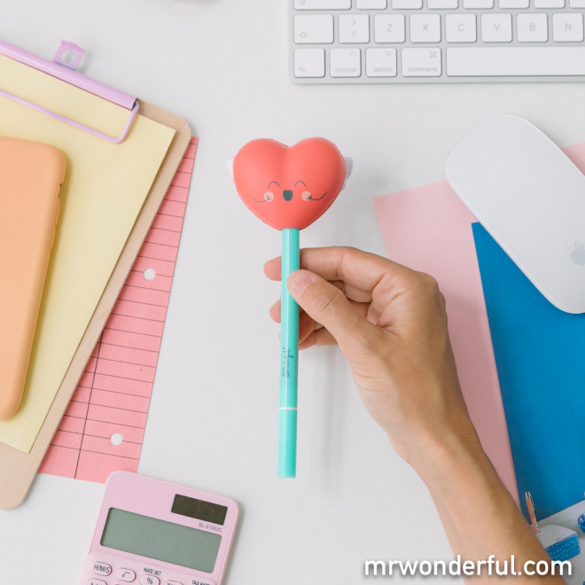 Bolígrafo con squishy - Corazón