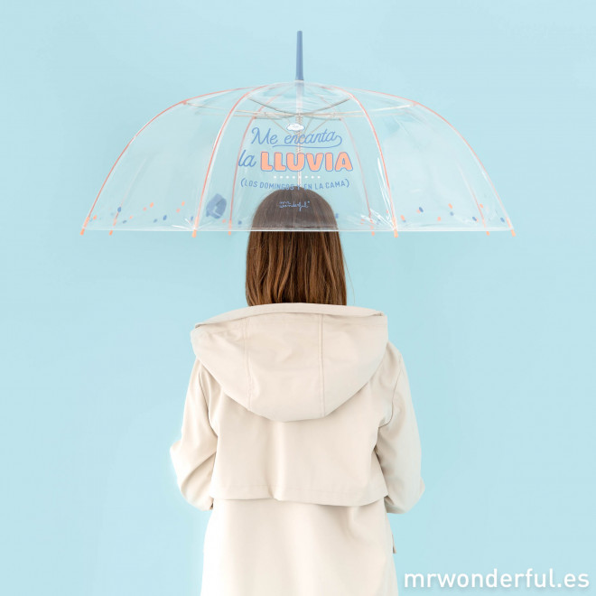Paraguas grande transparente - Me encanta la lluvia