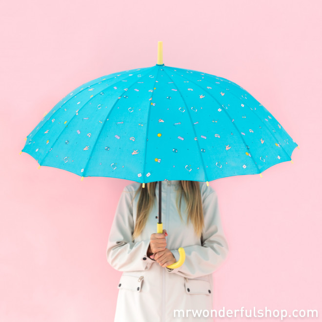 Paraguas grande turquesa - Línea Rotu