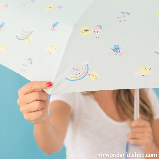 Paraguas mediano mint - Estampado arcoíris