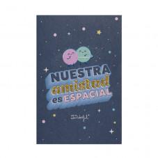 Postal con pegatina puffy con relieve - Nuestra amistad es espacial