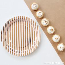 Piatti di carta decorati con strisce dorate - 12 ud.