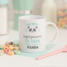 "Tazza ""Superpowers to cure early morning panda bear eyes"" (ENG)"