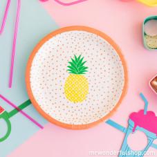 Piatti di carta tropicali con ananas disegnato - 8 ud. (ENG)