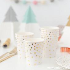 Bicchieri di carta con stelle dorate - 8 ud.