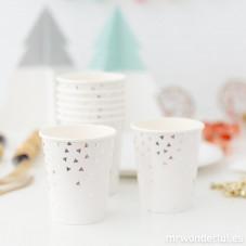 Bicchieri di carta decorati con triangoli d'argento- 8 ud.