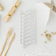 Cannucce di carta - Con linee argentate e bianche