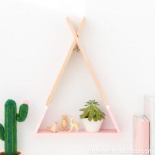 Mensola di legno a forma di tipi - Rosa (ENG)
