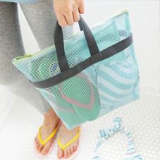 Borsetta da viaggio di maglia a rete con manici color blu