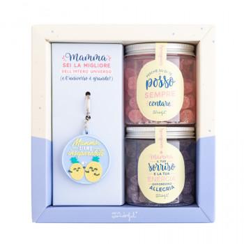 Confezione portachiavi e caramelle per mamma