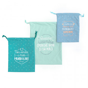 Set di 3 sacchetti in stoffa per portare con te tutte le cosine per il bimbo