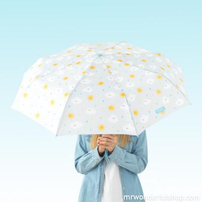 Ombrello medio Grigio - nuvole a stampa