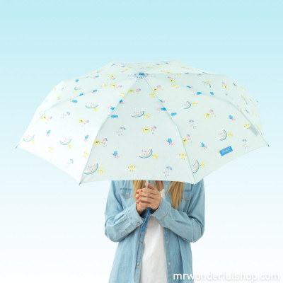 Ombrello medio mint - con stampa arcobaleno