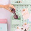 Gafas de sol Trendy inyección hexagonales - Habana rosado