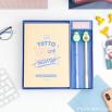 Set di libro da completare amore + 2 penne con forme