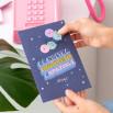 Biglietto con adesivi puffy in rilievo - La nostra amicizia è spaziale