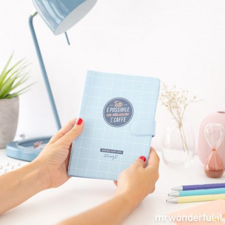 Agenda classica piccola 2018-2019 Settimanale - Tutto è possibile con entusiasmo e caffè (IT)
