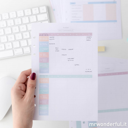 """Contenuto extra """"Organizzazione famigliare"""" per la tua agenda Mr Wonderful ad anelli (IT)"""