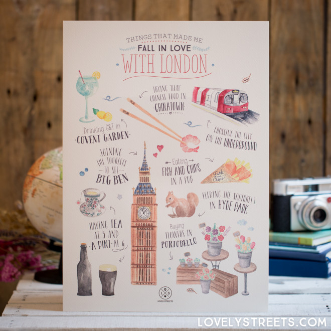 Print Lovely Streets - Things that made me fall in love with London