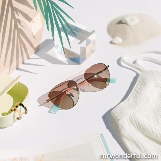 Gafas de sol de metal aviador - Oro + Carey + Azul