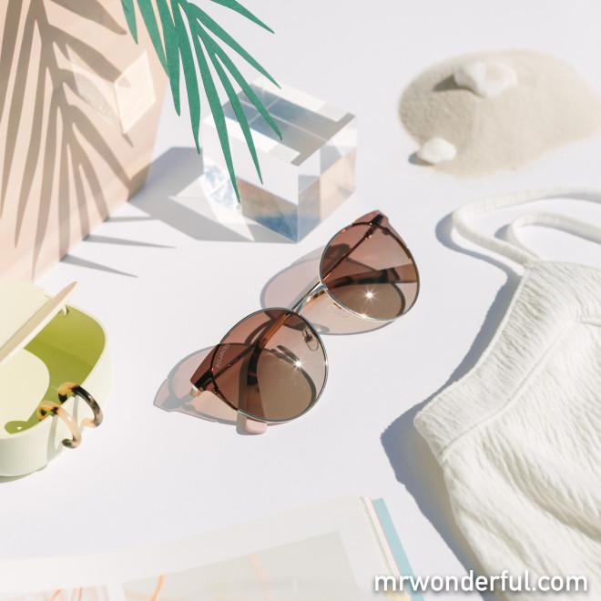 Gafas de sol de metal - Oro + Carey + Rosa