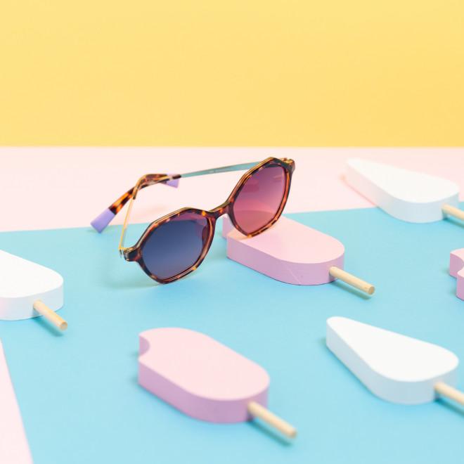 Gafas de sol Trendy inyección + metal hexagonales - Habana rosa + oro