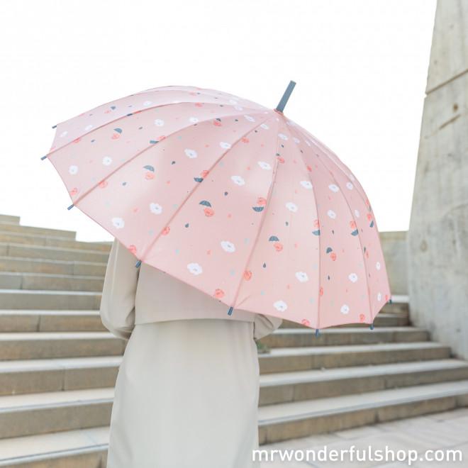 Paraguas grande rosa - Estampado corazones y nubes