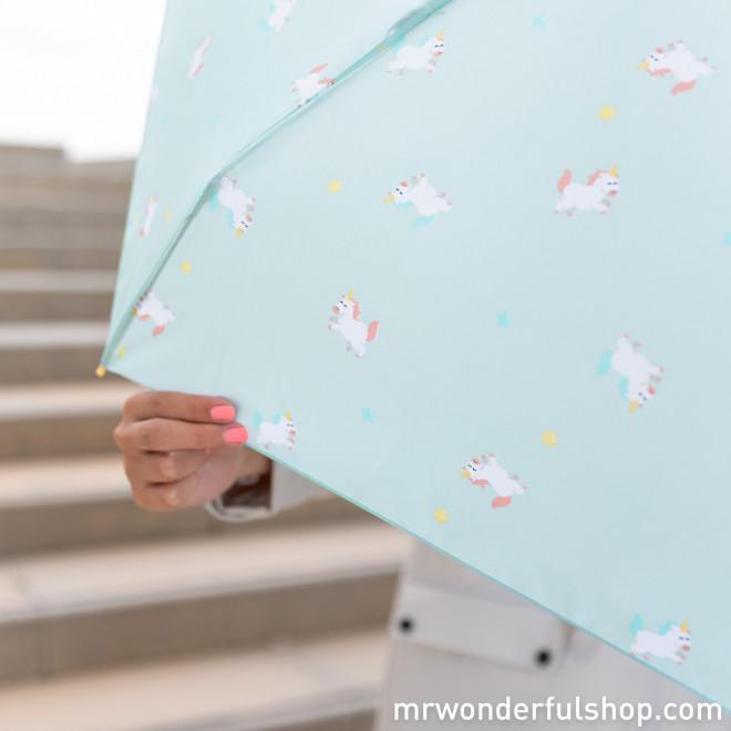 Paraguas pequeño mint - Estampado unicornios