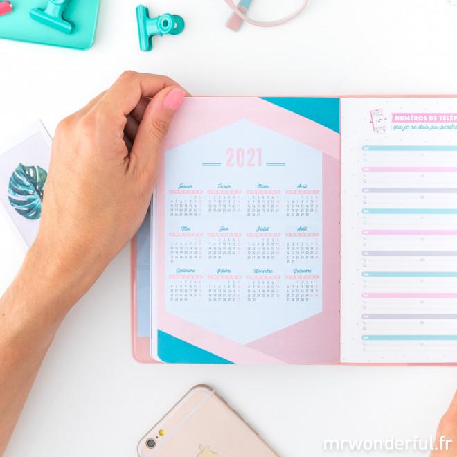 Agenda annuel classique petit format 2020 Modèle semainier