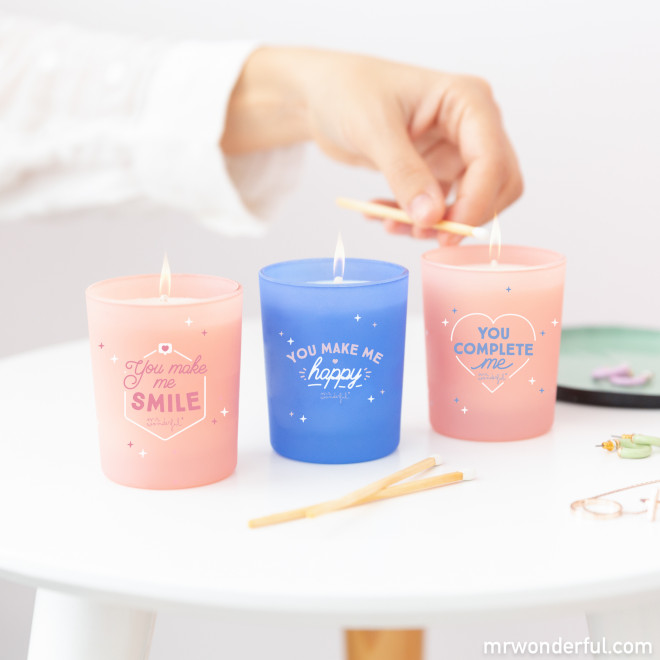 Set of 3 candles for couples with the spark