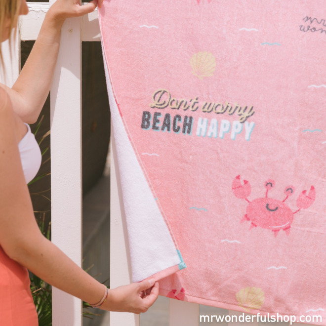 Beach towel - Don't worry beach happy