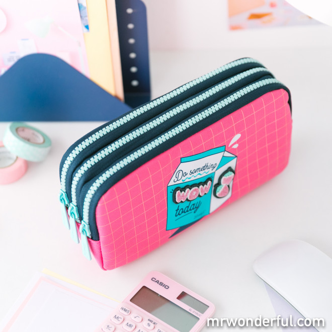 "Triple pencil case - Do something ""wow"" today"