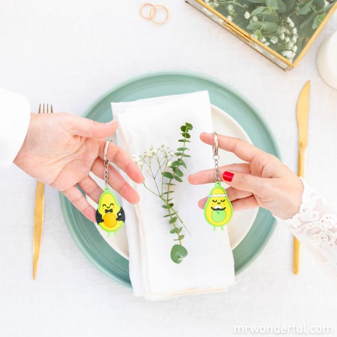 Set of two keyrings for wedding - Avocado