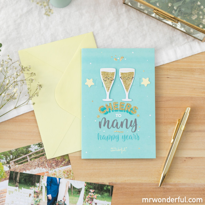 Greetings card – Cheers to plenty of happy years