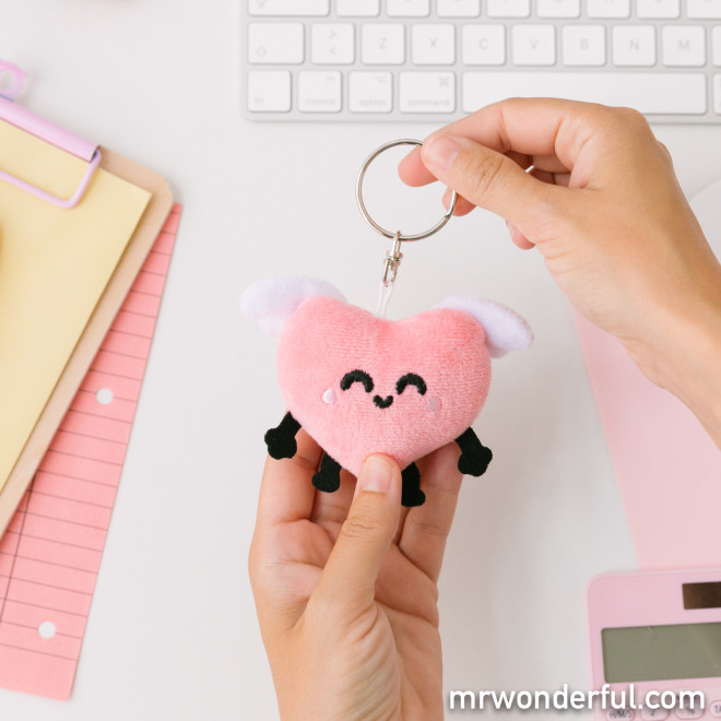 Plush keyring - Winged heart
